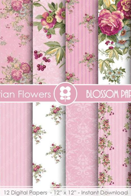 Rose Digital Paper, Shabby Chic Digital Paper Pack, Pink Roses, Wedding, Scrapbooking, Roses, Pink VIntage Roses -1694