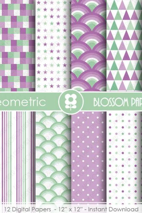 Mint Purple Digital Paper Geometric Digital Papers, Scrapbooking Paper Pack, Mint Purple Papers - 1831