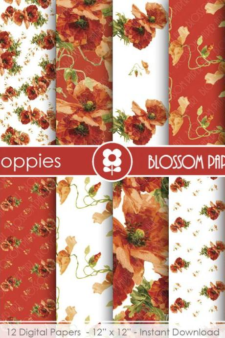 Poppies Digital Paper Pack, Red Floral Papers, Digital Scrapbooking Pack - Poppies - Decoupage - 1911