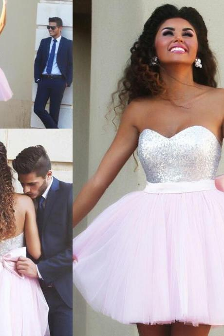 Custom Made Light Pink Short/Mini Homecoming Dresses, Short/Mini Prom Dresses,Charming Homecoming Dresses,Graduation Dresses, Sexy Prom Dresses, Homecoming Dress, Homecoming Dress With Beading Sashes