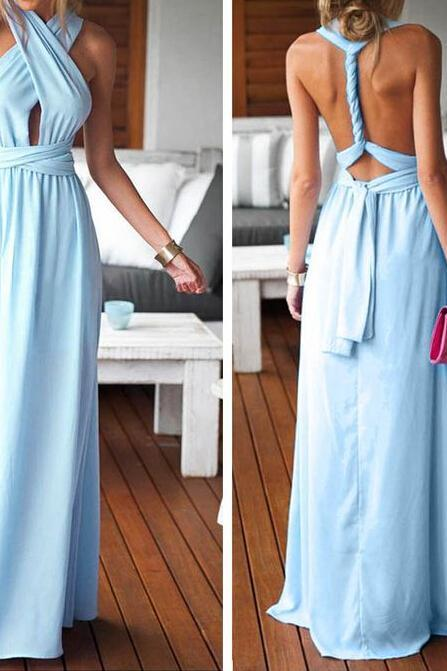 2015 New Style A Line Floor Length Long Evening Dress,Party Dress,Prom Dress For Formal,Sexy Cross Back Prom Gowns,