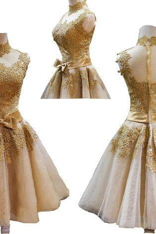 short Homecoming Dresses, lace homecoming Dresses, junior Homecoming Dress, gold homecoming dress, party prom dress, short cheap prom dress, 14197