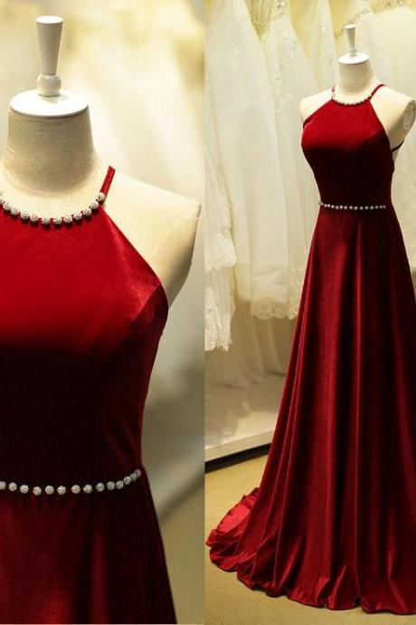 Charming High Quality Red Halter Neckline Cross Back Prom Dresses 2016, Long Prom Dresses 2016, Evening Gowns
