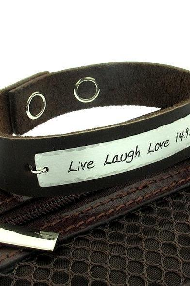 Personalized Mens Bracelet - Custom Bracelet for Men - Engraved cuff for Him - Mens Jewelry