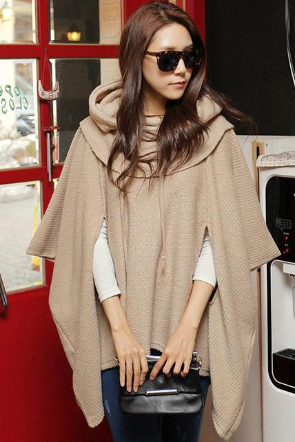Fashion Loose Unicolor Hooded Shawl Sweater For Woman 3BITC29EPDRRXTYEM2KSF UG6H7QG94K0