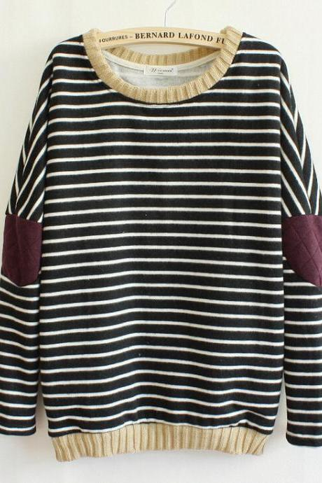 Fashion Striped Patch Sweater OCAPZQHRITZ5AE61BA55M S529OSV7RBT