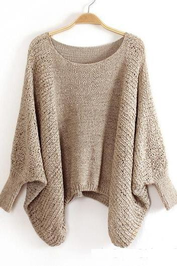 High Quality Loose Pattern Sweaters With Batwing Sleeve - Khaki AGM973D9SJO9CF9B7XWBJ 0ME99Q8M474