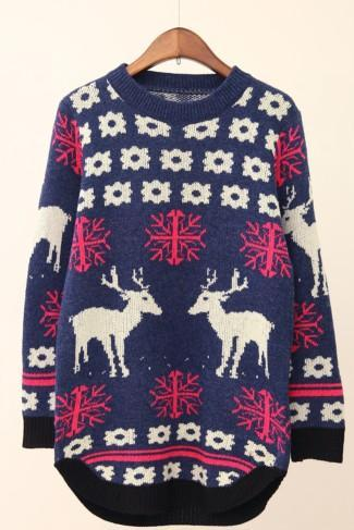 Women 'S Fashion Lovely Students Deer Long Sweater/Pullover OUFCOTPXK38GITL82WYBT HALH5KEV7NU