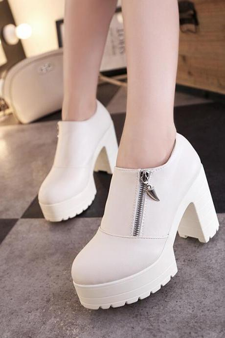 Round head thick bottom side zippers casual shoes-beige