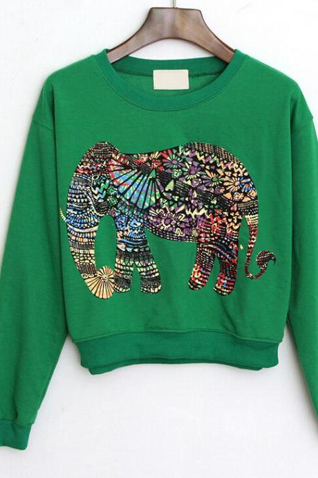 The green printing elephant fleece