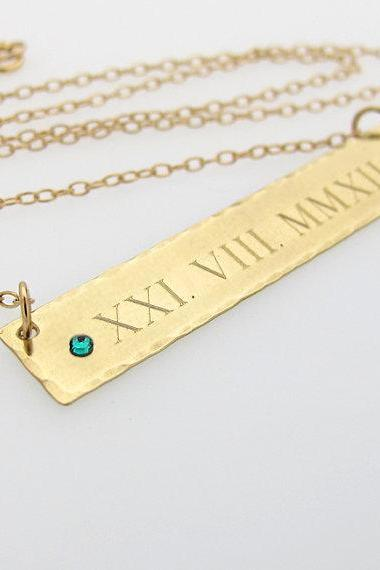 Anniversary Necklace - Roma Numeral Engraved Bar Necklace - Gold Filled Bar Necklace with Birthstone