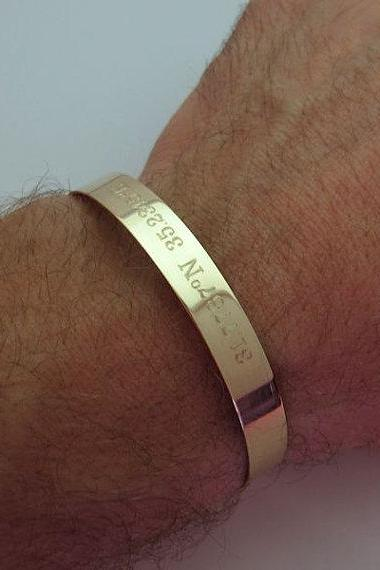 GPS Latitude Longitude Coordinates Bracelet for Men - Men's Personalized Gold Cuff