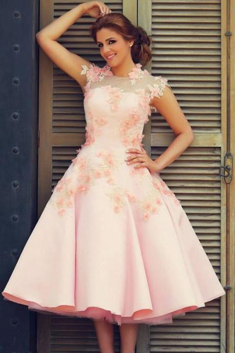Said Mhamad Prom Dresses, High Neck Evening Dresses, Pink Special Occasion Dresses, Satin Evening Gowns, Hand Made Flowers Pageant Dress, Tea Length Party Dresses