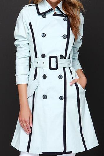 High Quality Turndown Collar Light Blue Belted Trench Coat