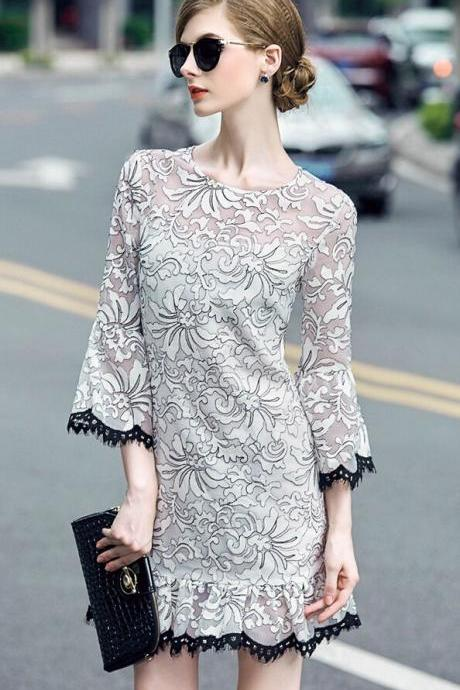 Heavy embroidery dress, organza straight horn sleeve fishtail dress