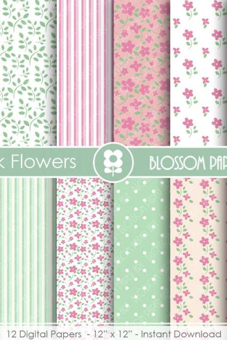 Floral Digital Paper Pink Shabby Chic Papers, Scrapbooking Paper Pack, Pink & Green Floral Papers - 1765