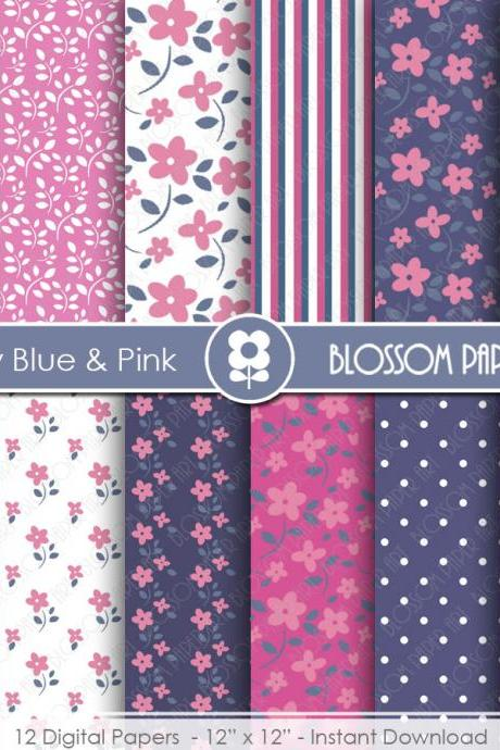 Blue Navy Digital Paper, Pink Digital Papers, Floral Digital Scrapbooking Pack - Little Flowers - 1948