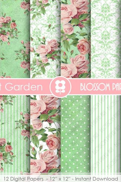 Roses in Mint Digital Paper, Garden Shabby Chic Digital Paper Pack, Wedding, Scrapbooking, Pink Vintage Rose - 1868