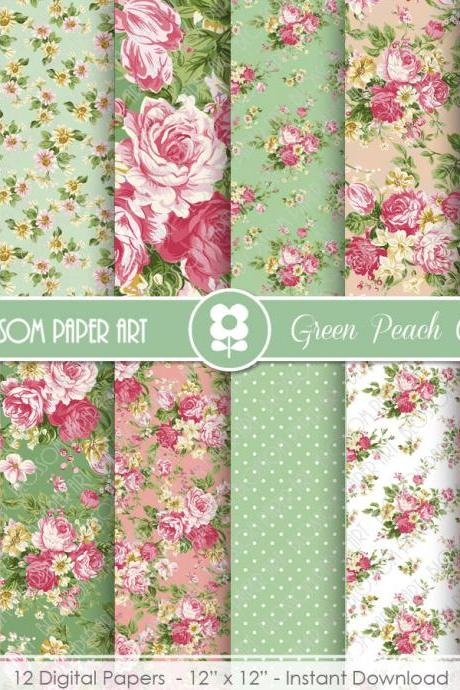 Digital Papers, Rose Peach Green Floral Digital Paper Pack, Scrapbooking Rose Papers - 1933