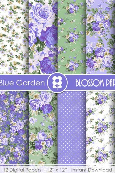 Blue Digital Paper, Floral Digital Papers, Rose Digital Scrapbooking Pack - Decoupage - 1931