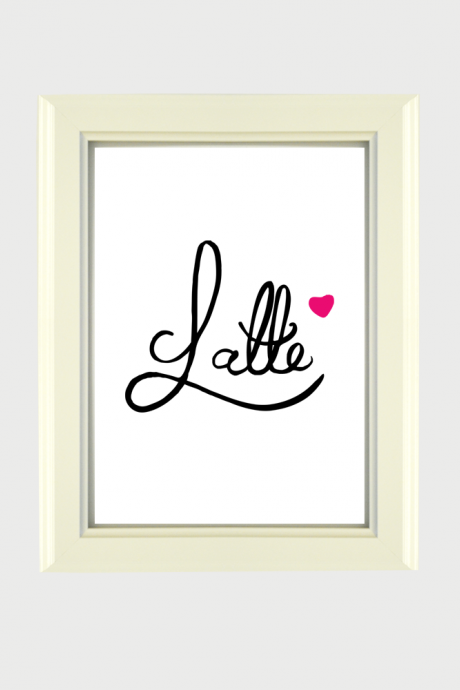 Latte - Hand lettering Digital Wall Art Graphic Design