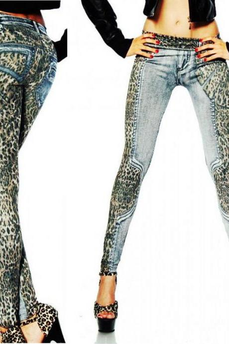 New Sexy Fashion Leopard Slim Fit Pencil Jeans Trousers Casual Women Denim Pants