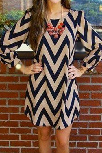 Free Shipping Round Neck Chevron Print Straight Dress