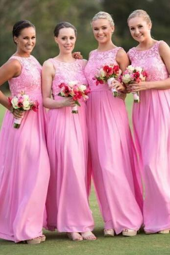 Pink Lace Crew Neck Sleeveless Floor Length Chiffon A-Line Bridesmaid Dress