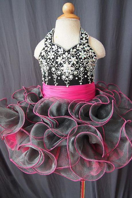 Black Little Girl's Pageant Dresses, Ruffle Little Girl's Cupcake Dresses, Short Mini Little Girl's Pageant Dress, Organza Girl's Pageant Dress, Halter Little Kids Pageant Dress, Crystal Kids Cupcake Dresses