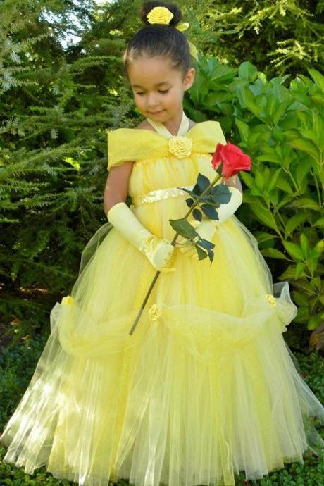 Yellow Flower Girl Dresses, Halter Girl Party Dress, Hand Made Flower Girl Dress, Long Tulle Girl Pageant Dresses,2015 Little Flower Girl Dresses