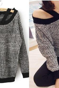 Hot sale Dark Grey Loose Off-Shoulder Sweater