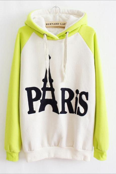 Hot sale English Tower Spell Color Hooded Sweater for female