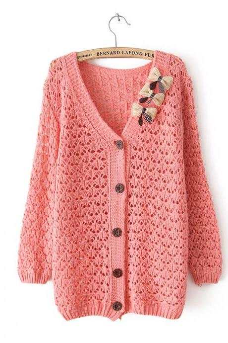 Hot sale Fashion Pink Bow Hollow Out Slim Sweater for women