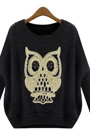 Hot sale Loose Owl Irregular Bottom Knitting Sweater for women