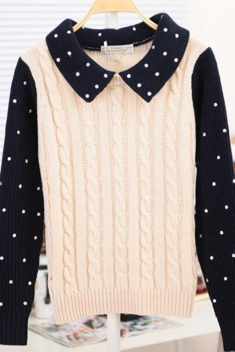 Hot sale Sweet Twist Long-Sleeve Polka Dots Braid Sweater&Cardigan for women