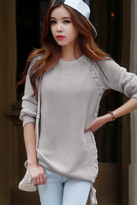 Fashion Pure Color Loose Pullovers