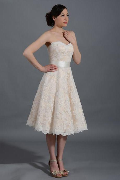 Lace wedding dress wedding dress bridal gown strapless alencon lace