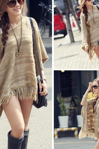 Chic Tassels Bat Sleeve Hollow Out Knitting Cloak U6OV1IX04TTOF9AKK5FDG UMH5HMKC1W8