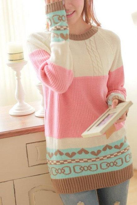 Fashion Love Mixed Colors Bow Printed Sweater&Cardigant XU6RCSQ6KUMEFMJB9SRR8 AFSK668MBR5