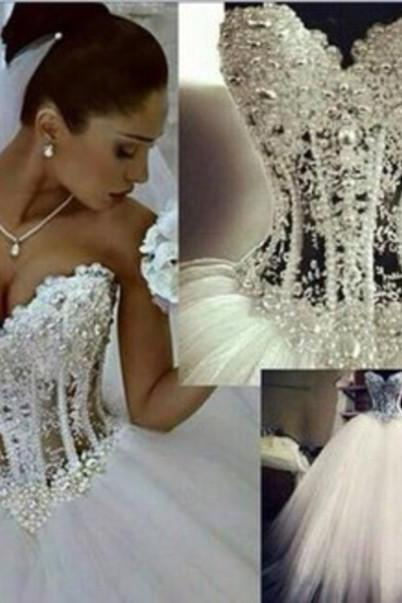 New Arrival Beading A-Line Wedding Dresses Charming A-Line Wedding Dress Ball gown