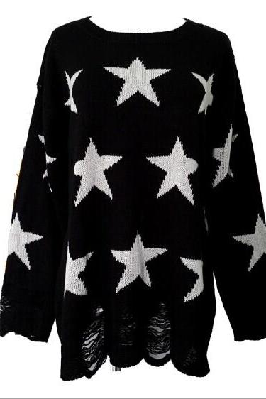 New Fashion Black Star Hollow Out Halter Irregular Sweater OJIGZH6HN0FE413ZXHU1X LDUGM35OSZA