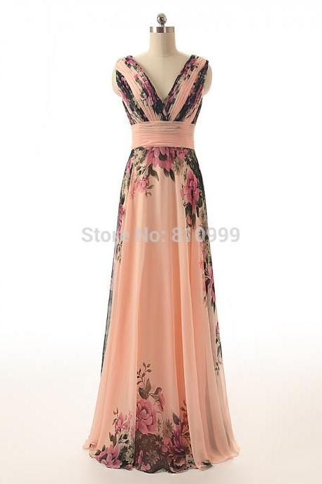 Floral Printed Flower Sexy Lady Formal For Wedding Party Dress Cheap Long Evening Dresses Gown V-NECK