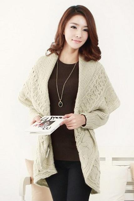 Stylish Lady Turndown Collar Apricot Long Sweater Cardigans M32G7AN8W141BA0RTA316 NGMBDOFR0DZ