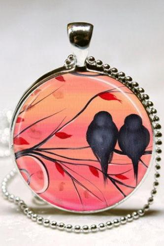 Bird Necklace, Love Birds, Lovebird Jewelry, Sunset, Nature Art