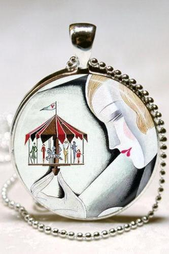 Art Deco Jewelry Woman with Carousel Merry Go Round Art Pendant with Ball