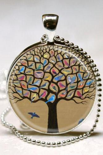 Tree of Life Necklace Bird Jewelry Nature Art Pendant with Ball Chain Included
