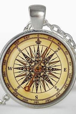 Old compass Pendant, Vintage compass necklace, Silver Plated pendant, Jewelry