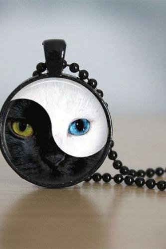 Ying Yang Necklace Glass Tile Necklace Cat Necklace Cat Jewelry Glass Tile