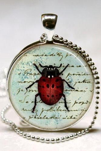 Ladybug Necklace, Insect Jewelry, Red and Black Lady Bug Vintage Art Pendant