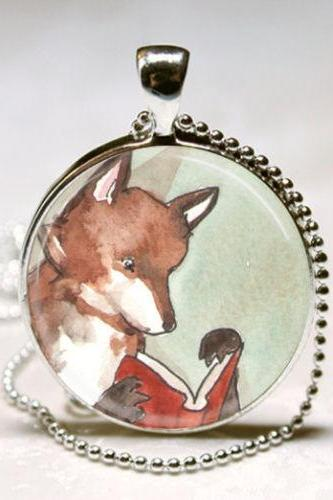Fox Necklace Woodland Creature, Reading Fox, Books, Fairy Tales, Bibliophile